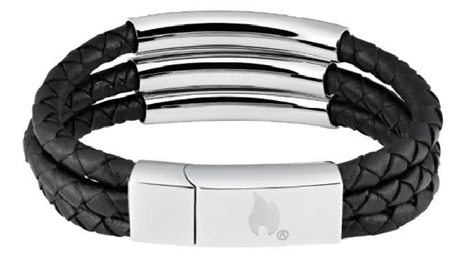 Фото - Браслет ZIPPO, чёрный, нержавеющая сталь/натуральная кожа, 20x1,85x0,80 см