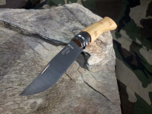 Фото 6 - Складной нож Opinel №7 Nature Snow, сталь Sandvik 12C27, рукоять самшит, гравировка снежинки, 001553