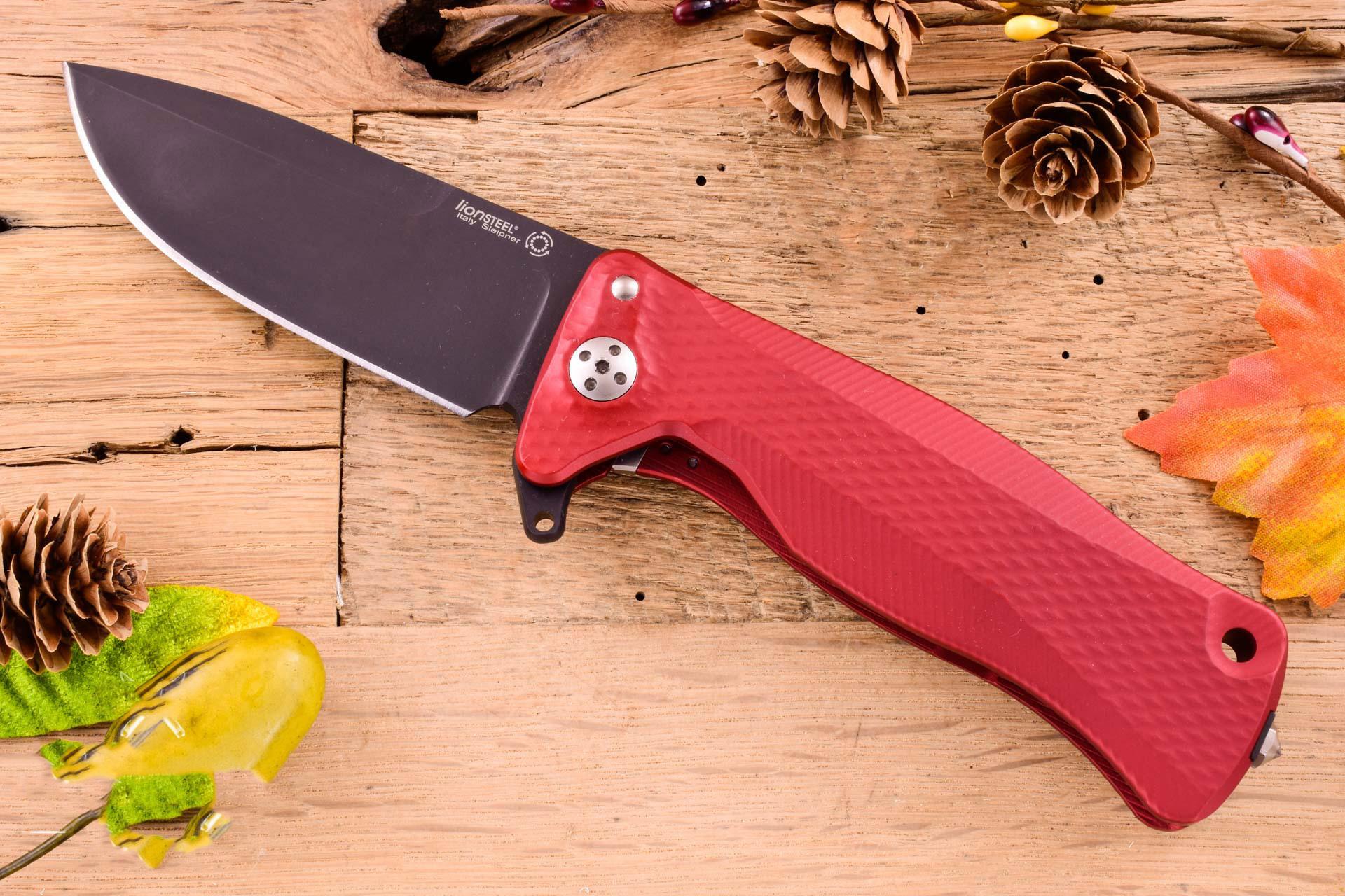 Фото 5 - Нож складной LionSteel SR11A RB RED, сталь Uddeholm Sleipner® Black Finish, рукоять алюминий (Solid®), красный от Lion Steel