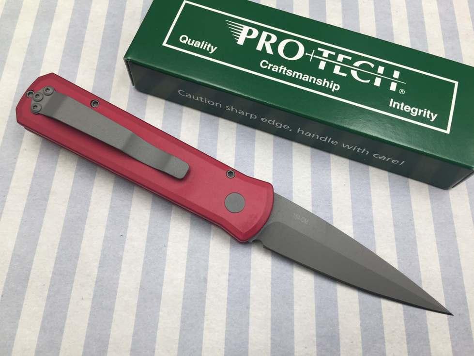 Фото 4 - Автоматический складной нож Pro-Tech Godson 720 Red, сталь 154CM, рукоять алюминий, красный