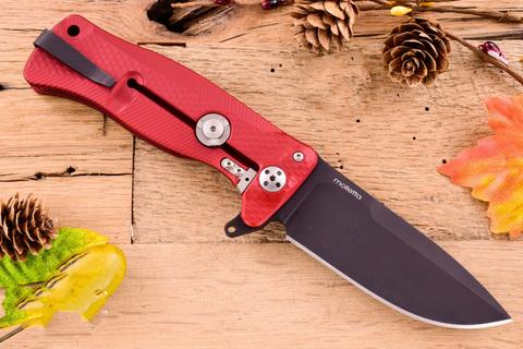 Нож складной LionSteel SR11A RB RED, сталь Uddeholm Sleipner® Black Finish, рукоять алюминий (Solid®), красный. Вид 5