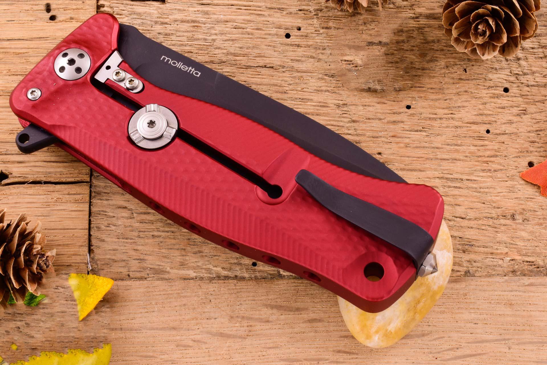 Фото 7 - Нож складной LionSteel SR11A RB RED, сталь Uddeholm Sleipner® Black Finish, рукоять алюминий (Solid®), красный от Lion Steel