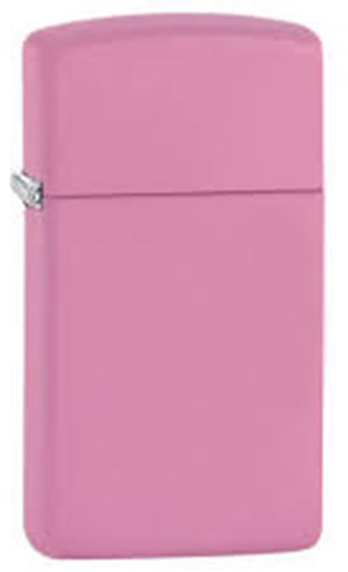 Зажигалка ZIPPO Slim®, латунь с покрытием Pink Matte, розовый, матовая, 30х10x55 мм цифра 6 euro 45х30 мм цам цвет матовая латунь