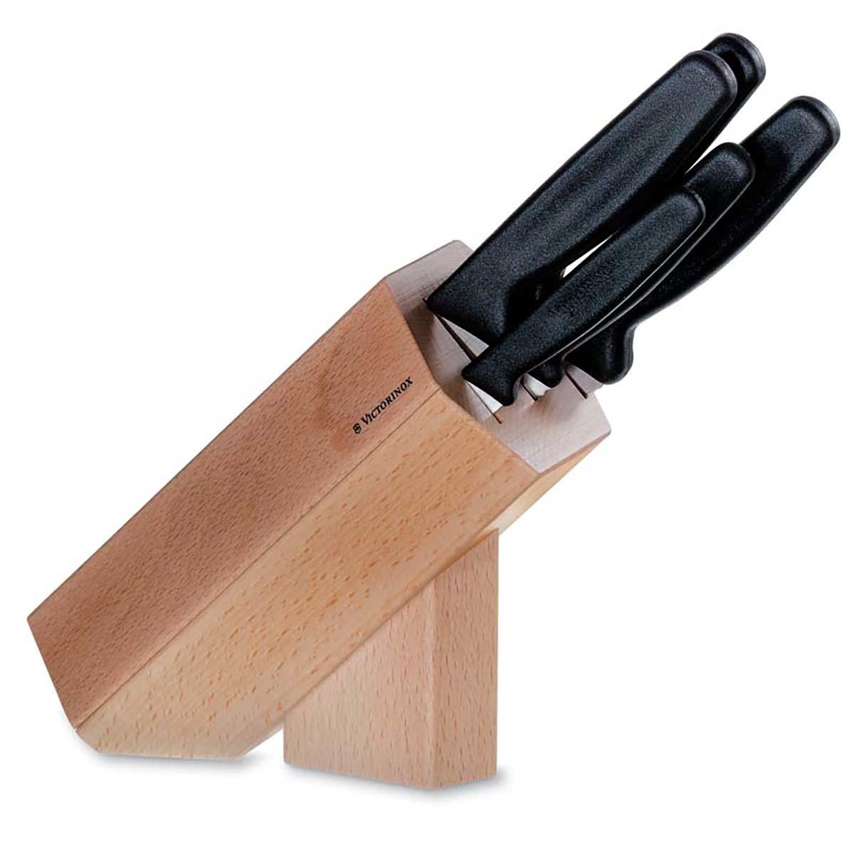 цена на Кухонный набор из 5 ножей Victorinox, сталь X50CrMoV15, деревянная подставка