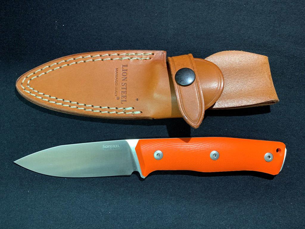 Нож с фиксированным клинком LionSteel B35, сталь Sleipner, рукоять оранжевый G10