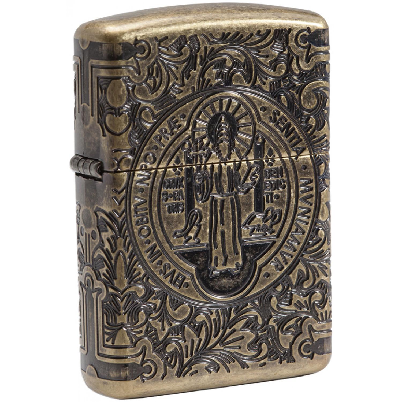 Зажигалка ZIPPO Armor® с покрытием Antique Brass, латунь/сталь, золотистая, матовая, 36x12x56 мм