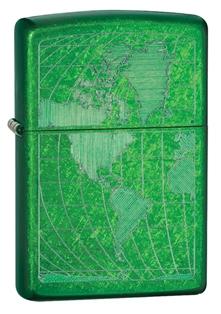 Зажигалка ZIPPO World, латунь с покрытием Meadow™, зелёный, глянцевая с гравировкой, 36х12x56 мм зажигалка zippo classic с покрытием meadow™