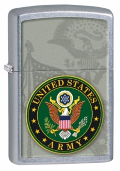 Зажигалка ZIPPO US Army, латунь с покрытием Street Chrome™, серебристый, матовая, 36х12x56 мм
