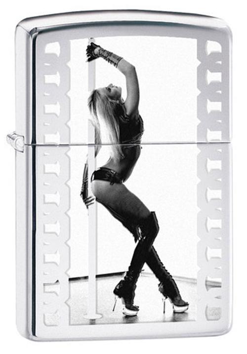 Зажигалка ZIPPO Classic Девушка с покрытием High Polish Chrome, латунь/сталь, серебристая, 36x12x56 мм