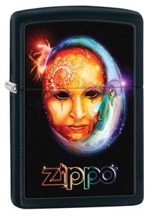 Зажигалка ZIPPO Venetian Mask, латунь с покрытием Black Matte, чёрная, матовая, 36х12x56 мм