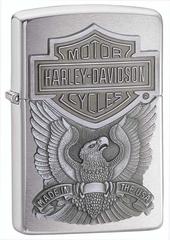 Зажигалка ZIPPO Harley-Davidson®, с покрытием Brushed Chrome, латунь/сталь, серебристая, 36x12x56 мм