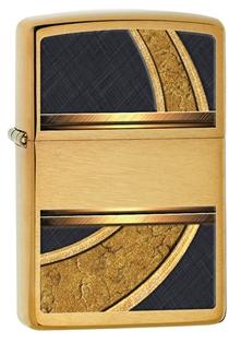 Зажигалка ZIPPO Gold & Black, латунь с покрытием Brushed Brass, золотистая орнаментом, 36х12x56 мм
