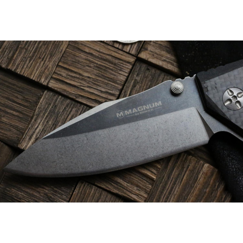 Фото 5 - Складной нож Magnum Omen - Boker 01SC057, сталь 440A 2 Tone Stonewash, рукоять стеклотекстолит G10/карбон, серый