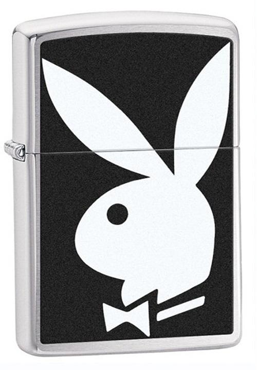 Зажигалка ZIPPO Playboy®, латунь с покрытием Brushed Chrome, серебристый, матовая, 36х12x56 мм