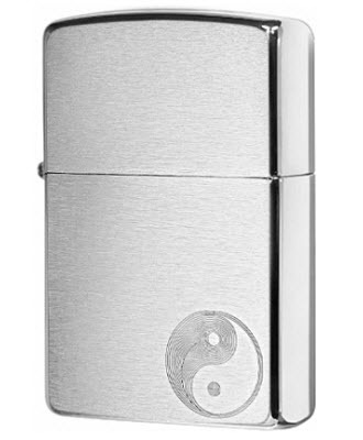 Зажигалка ZIPPO 200 Yin Yang с покрытием Brushed Chrome, латунь/сталь, серебристая, 36x12x56 мм