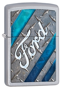Зажигалка ZIPPO Ford, латунь с покрытием Satin Chrome™, серебристый, матовая, 36х12x56 мм цена