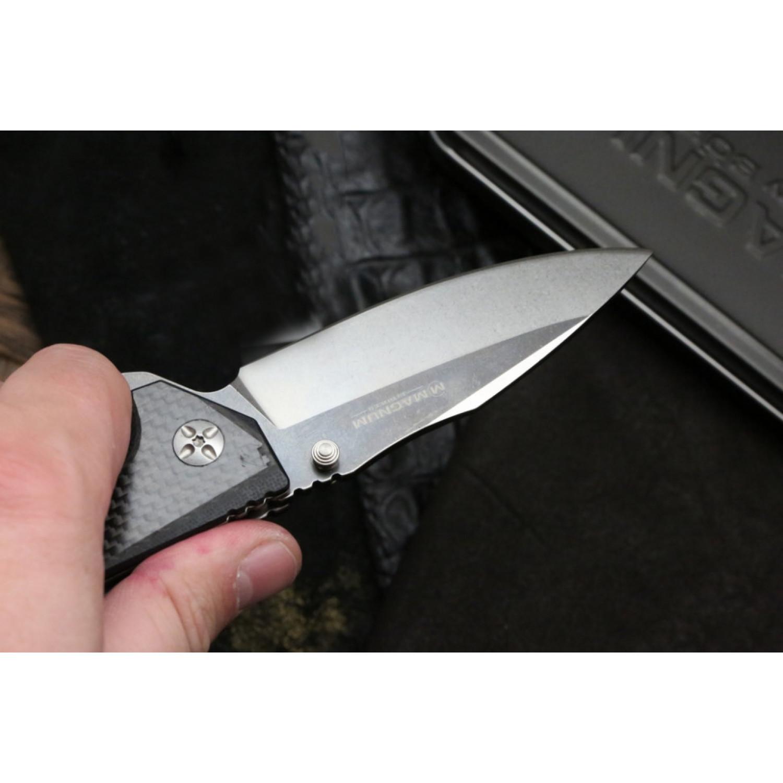 Фото 7 - Складной нож Magnum Omen - Boker 01SC057, сталь 440A 2 Tone Stonewash, рукоять стеклотекстолит G10/карбон, серый