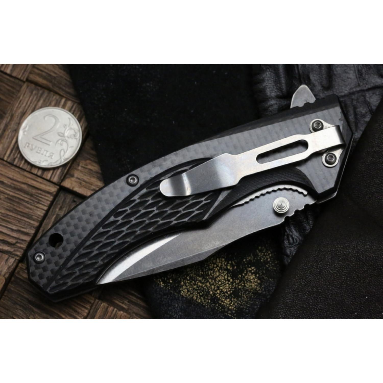 Фото 8 - Складной нож Magnum Omen - Boker 01SC057, сталь 440A 2 Tone Stonewash, рукоять стеклотекстолит G10/карбон, серый