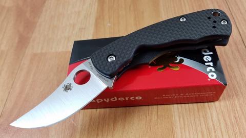 Нож складной REINHOLD RHINO™ Spyderco 210CFP, сталь Carpenter CTS™ - XHP Micro-Melt® Alloy Satin Plain, рукоять карбон/G10, чёрный. Вид 2