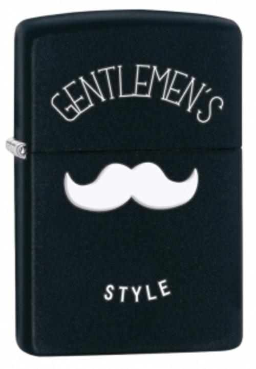 Зажигалка ZIPPO Gentlemans Style, латунь с покрытием Black Matte, чёрная, матовая, 36х12х56 мм