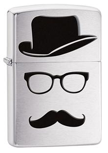 Зажигалка ZIPPO Moustache & Hat, латунь с покрытием Brushed Chrome, серебристый, 36х12x56 см цены онлайн