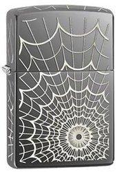 Зажигалка ZIPPO Web, латунь с покрытием Black Ice®, серый с гравировкой, глянцевая, 36х12x56 мм