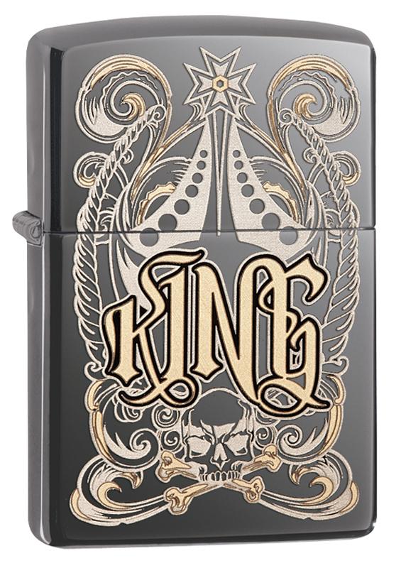 Зажигалка ZIPPO Classic King с покрытием Black Ice® зажигалка zippo slim black ice 3 1 5 5 см