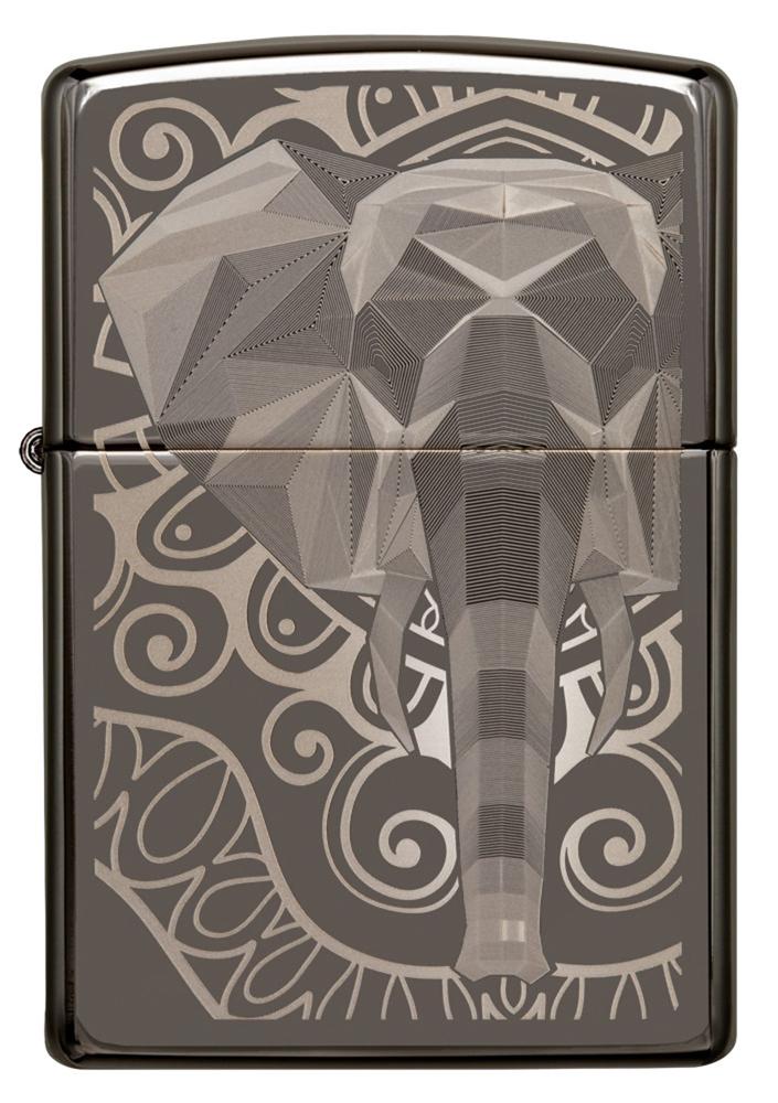 Зажигалка ZIPPO Elephant Fancy Fill Design с покрытием Black Ice®, латунь/сталь, чёрная, глянцевая, 36х12х56 мм