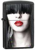 Зажигалка ZIPPO Red Lips, латунь с покрытием Ebony™, чёрный, матовая, 36х56х12 мм - купить в интернет магазине