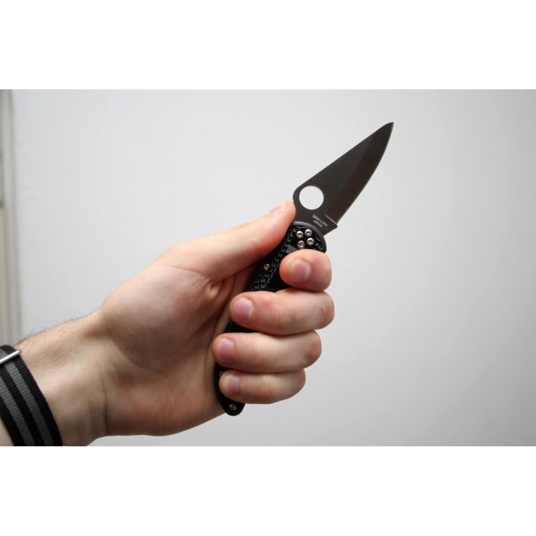 Фото 7 - Складной нож Delica 4 - Spyderco C11PBK, сталь VG-10 Satin Plain, рукоять высококачественный термопластик FRN, чёрный