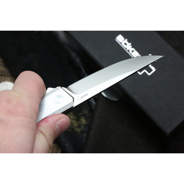Фото 6 - Нож складной Kwaiken Flipper Framelock - Boker Plus 01BO269, сталь D2 Satin Plain, рукоять нержавеющая сталь