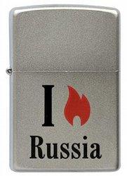 Зажигалка ZIPPO Flame Russia  Satin Chrome, латунь с ник.-хром. покрыт., сереб., матовая, 36х56х12 мм