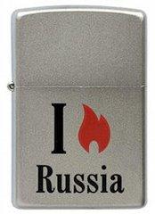 Зажигалка ZIPPO Flame Russia  Satin Chrome, латунь с ник.-хром. покрыт.,сереб.,матовая, 36х56х12мм