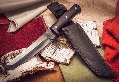 Нож Тантоид MT-12, черный граб, сталь 65Г, фото 3