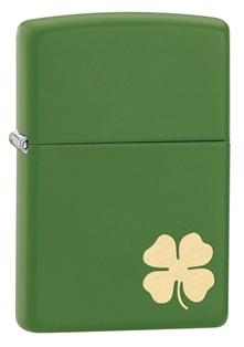 Зажигалка ZIPPO Shamrock, латунь с никеле-хромовым покрытием, зелёный, матовая, 36х12x56 мм