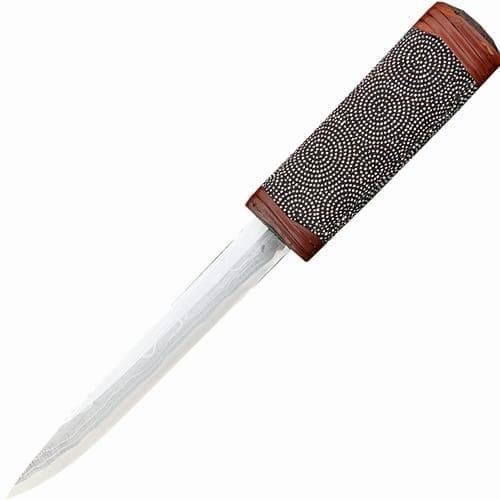 Нож с фиксированным клинком танто Maruyoshi Hand Crafted, сталь Shirogami, рукоять дуб обмотанный серой тканью