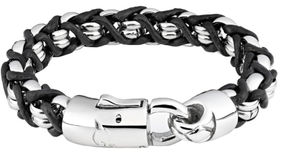Фото - Браслет ZIPPO, чёрно-серебристый, нержавеющая сталь/натуральная кожа, 22x1,1x1 см браслет содалит биж сплав сталь хир 18 см 3 см