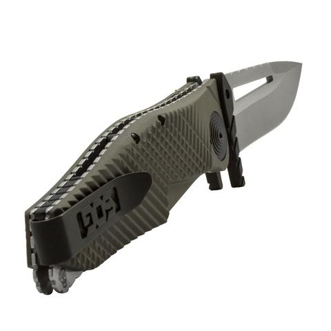 Полуавтоматический складной нож Quake XL, Flat Dark Earth Anodized Aluminum Handle, 2-Tone Finish VG-10 Blade. Вид 2