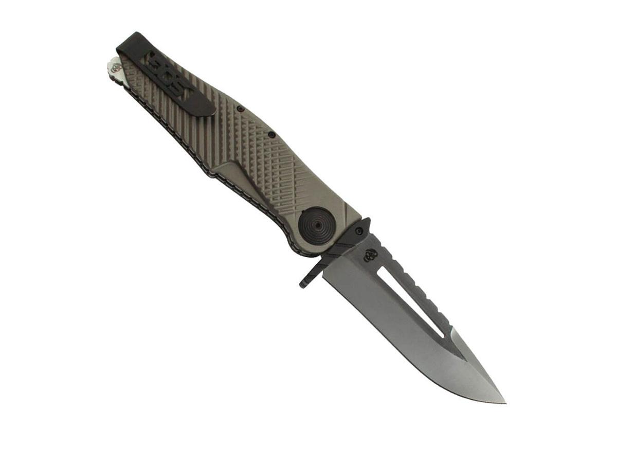 Полуавтоматический складной нож Quake XL, Flat Dark Earth Anodized Aluminum Handle, 2-Tone Finish VG-10 Blade от SOG