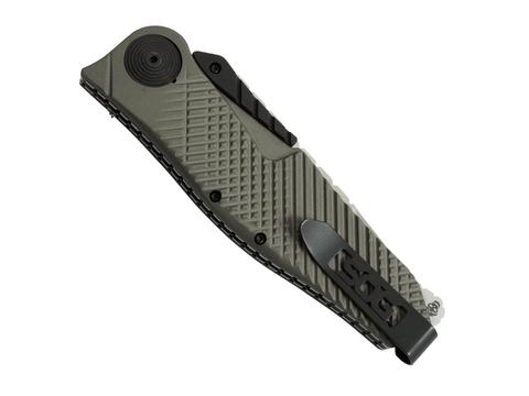 Полуавтоматический складной нож Quake XL, Flat Dark Earth Anodized Aluminum Handle, 2-Tone Finish VG-10 Blade. Вид 4