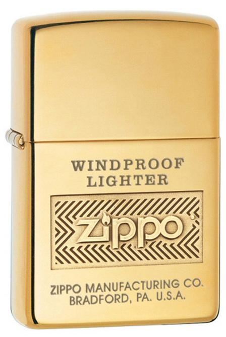 Зажигалка ZIPPO Windproof, латунь, золотистый, глянцевая с гравировкой, 36х56х12мм