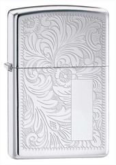 Зажигалка ZIPPO Venetian® с покрытием High Polish Chrome, латунь/сталь, серебистая, 36x12x56 мм