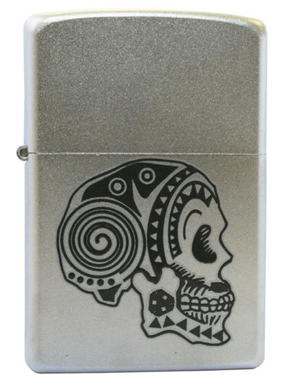 Зажигалка ZIPPO Tattoo Skull Satin Chrome, латунь с ник.-хром. покрыт., серебр., матовая, 36х56х12 мм
