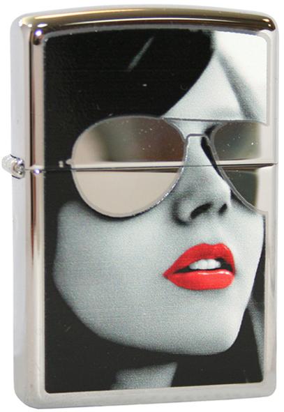 Зажигалка ZIPPO Sunglasses High Polish Chrome, латунь с ник.-хром. покрыт., серебр., глянц., 36х56х12 мм