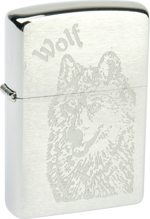 Зажигалка ZIPPO Wolf Brushed Chrome, латунь с никеле-хром.покрыт., серебр., матов., 36х56х12 мм зажигалка zippo grey dusk латунь с никеле хромовым покрытием серый 36х56х12 мм