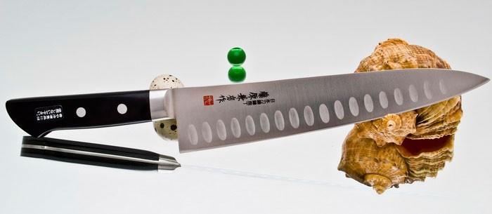 Нож кухонный Gyuto 210 мм, Fujiwara, FKS-04, сталь Molybdenum Vanadium, Pakka wood, чёрный фото