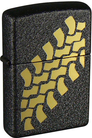 Зажигалка ZIPPO Tire Track Black Crackle, латунь с порошковым покрытием, черная, матовая, 36х56х12 мм