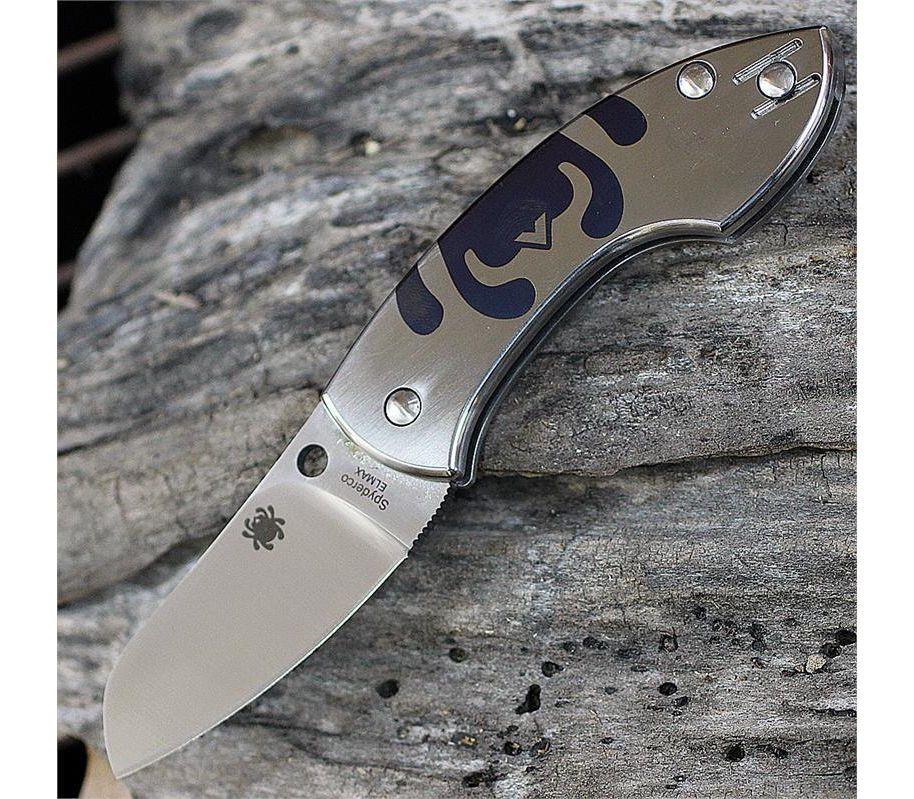 Фото 7 - Нож складной Pingo Titanium Spyderco 163TIP, сталь Elmax® Satin Plain, рукоять титан