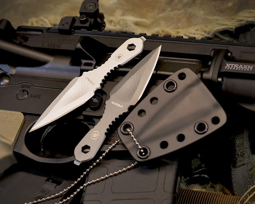 Шейный нож Spartan Blades Velos, сталь CPM-20CV, цельнометаллический, черный