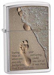 Зажигалка ZIPPO Footprint Brushed Chrome, латунь с никеле-хром. покрыт., серебр., матовая, 36х56х12 мм